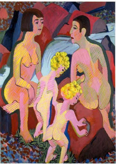 Kirchner, Ernst Ludwig: Bathing Women and Children. Fine Art Print/Poster. Sizes: A4/A3/A2/A1 (00499)